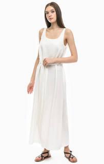 Длинное белое платье с расклешенной юбкой Stefanel