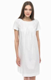 Белое хлопковое платье свободного кроя Stefanel