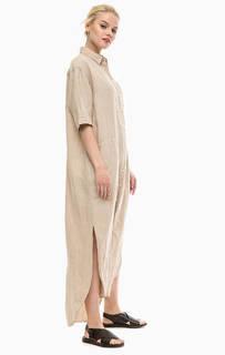 Длинное льняное платье-рубашка Gant