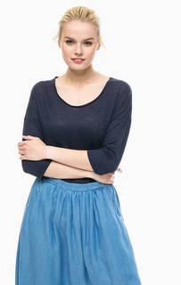 Льняная футболка синего цвета Gant