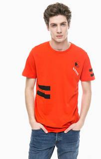 Оранжевая хлопковая футболка с принтом Jack & Jones