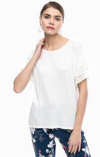 Белая футболка с оборками на рукавах Lerros