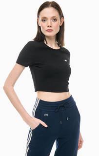 Черная укороченная футболка из хлопка Lacoste