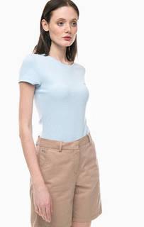 Плотная однотонная футболка из хлопка Lacoste