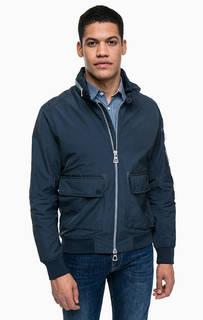 Синяя куртка с карманами и скрытым капюшоном Lerros