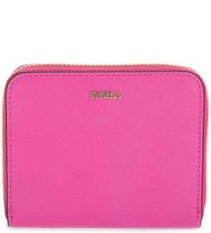 Кожаный кошелек цвета фуксии на молнии Furla