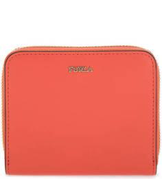 Оранжевый кожаный кошелек на молнии Furla