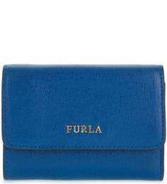 Синий кожаный кошелек Furla