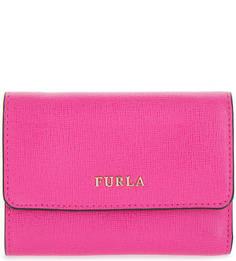 Кожаный кошелек цвета фуксии Furla