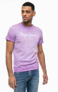 Сиреневая футболка с логотипом бренда Pepe Jeans