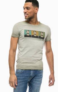 Хлопковая футболка цвета хаки с принтом Pepe Jeans