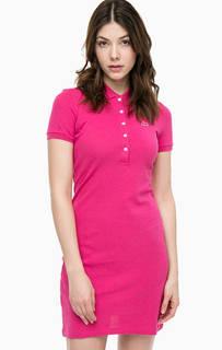 Короткое однотонное платье из хлопка Lacoste