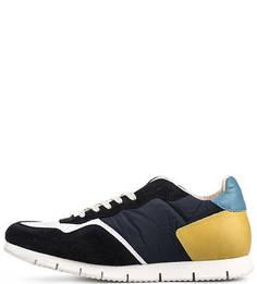 Синие кроссовки с контрастными вставками Nobrand