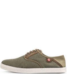 Текстильные ботинки цвета хаки Nobrand