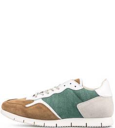 Замшевые кроссовки с текстильными вставками Nobrand