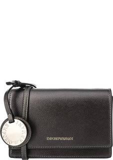 Серебристый клатч на магнитной кнопке Emporio Armani