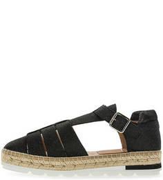 Черные сандалии из нубука Kanna