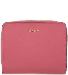 Розовый кошелек из сафьяновой кожи Dkny