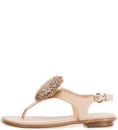 Кожаные сандалии бежевого цвета Michael Michael Kors