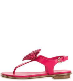 Кожаные сандалии цвета фуксии Michael Michael Kors