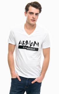 Белая футболка с фактурным принтом Armani Exchange