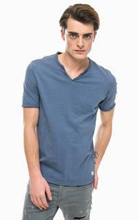 Хлопковоя футболка с декоративными пуговицами Jack & Jones