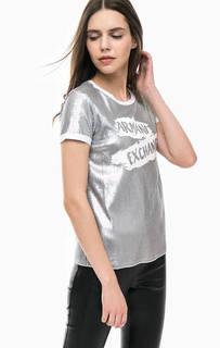 Хлопковая футболка с отделкой серебристыми пайетками Armani Exchange