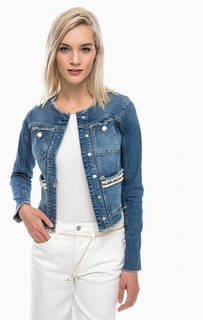 Короткая джинсовая куртка с отделкой камнями Guess
