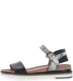 Кожаные сандалии с серебристыми вставками Mjus