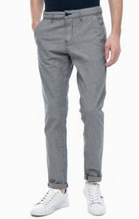 Хлопковые брюки чиносы синего цвета Tom Tailor Denim