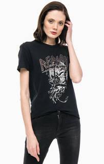 Хлопковая футболка со стразами Replay