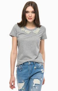 Серая футболка с отделкой бусинами Liu Jo