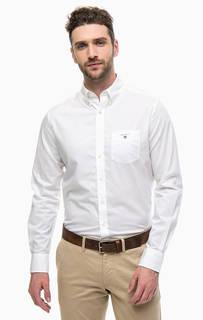 Белая хлопковая рубашка с карманом Gant