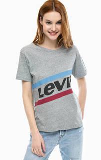 Серая хлопковая футболка с принтом Graphic Boyfriend Tee Levis®