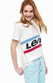 Белая футболка из хлопка Graphic Boyfriend Tee Levis®