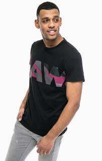Черная хлопковая футболка с принтом G Star RAW