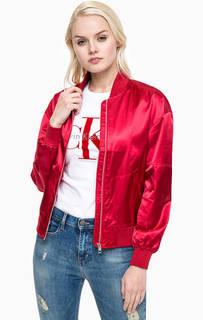 Красная куртка-бомбер с карманами Calvin Klein Jeans