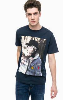 Синяя хлопковая футболка с принтом Jack & Jones