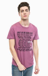 Сиреневая футболка из хлопка Tom Tailor Denim