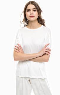 Белая футболка с полупрозрачными вставками Ichi