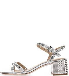 Серебристые кожаные босоножки с металлическим декором Ash
