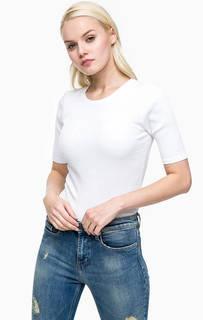 Белая хлопковая футболка с вышивкой Calvin Klein Jeans