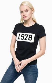 Хлопковая футболка с контрастным принтом Calvin Klein Jeans