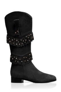 Замшевые сапоги Aquazzura x Claudia Schiffer Kentucky Boot Flat