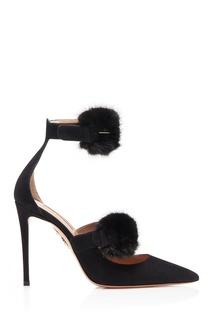 Черные туфли с меховой отделкой Sinatra Pump 105 Aquazzura