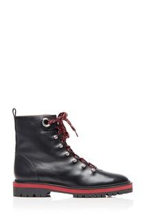 Черные кожаные ботинки Hiker Bootie Flat Aquazzura