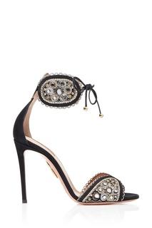 Замшевые босоножки с вышивкой Jaipur Sandal 105 Aquazzura