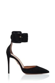 Черные замшевые туфли на шпильке Casablanca Pump 105 Aquazzura