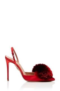 Красные туфли с помпоном Powder Puff Sling 105 Aquazzura