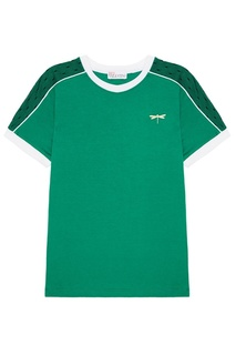 Зеленая футболка с контрастной отделкой RED Valentino